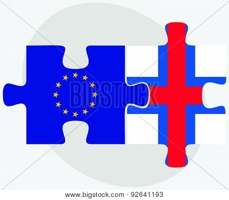 European Union And Faroe Islands Flags In Puzzle