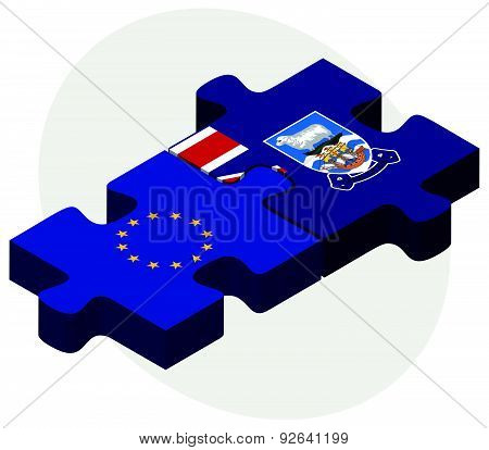 European Union And Falkland Islands Flags In Puzzle