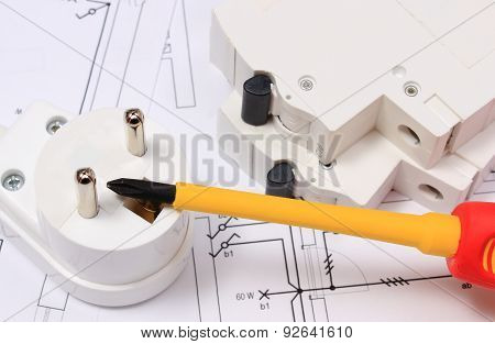 Screwdriver, Electric Plug And Fuse On Construction Drawing