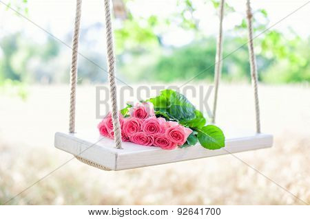 Pink Roses On A Swing