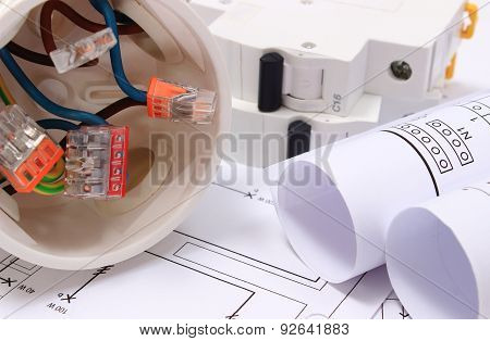 Electrical Box, Diagrams And Electric Fuse On Construction Drawing