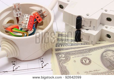 Electrical Box, Electric Fuse And Money On Drawing, Energy Concept