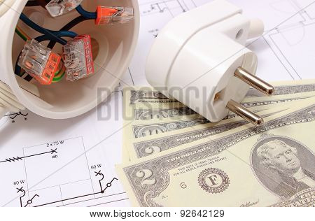 Electrical Box, Plug And Money On Drawing, Energy Concept