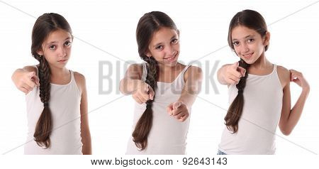 Collage of a young girl pointing at the camera.