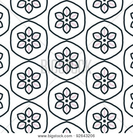 Primitive simple retro seamless pattern with flower