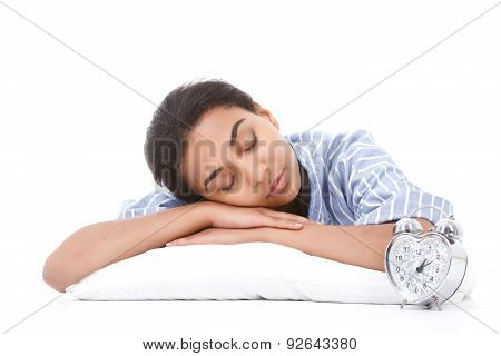 Young mulatto woman sleeping on pillow