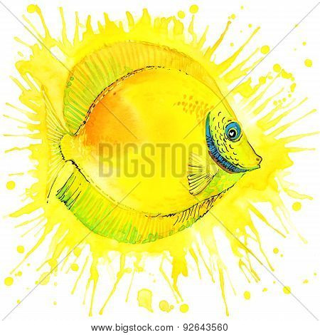 Funny gold fish with watercolor splash textured background. fashion print