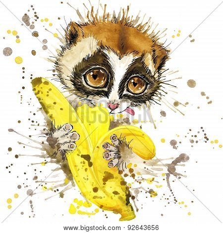 Funny lemur and banana with watercolor splash textured background. fashion print