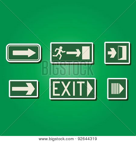 set of color icons with exit signs