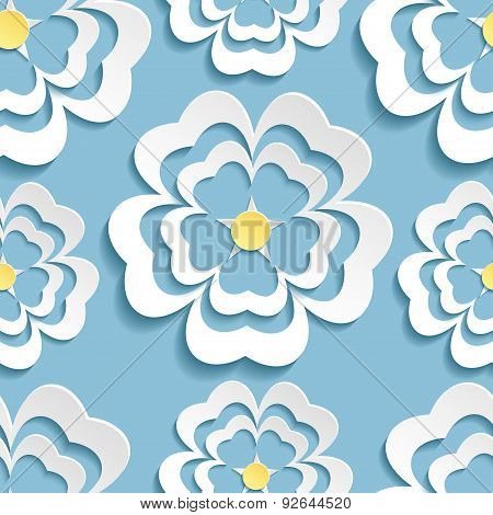 Modern Seamless Pattern With 3D Sakura Flower