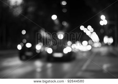 Blurred Defocused City Lights Of Heavy Traffic At Night
