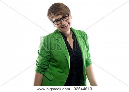 Image of happy pudgy business woman
