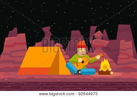 Night Camp Tent Traveler Sings and plays Guitar Campfire Seamless Desert Flat Design Background Temp