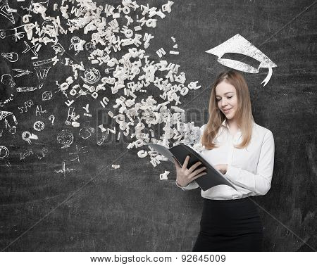 A Beautiful Student Is Holding A Black Folder With Flying Out Letters From The Folder. Drawn Graduat