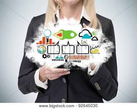 Business Lady Is Holding A Cloud With The Business Strategy Flowchart. Colourful Business Icons.