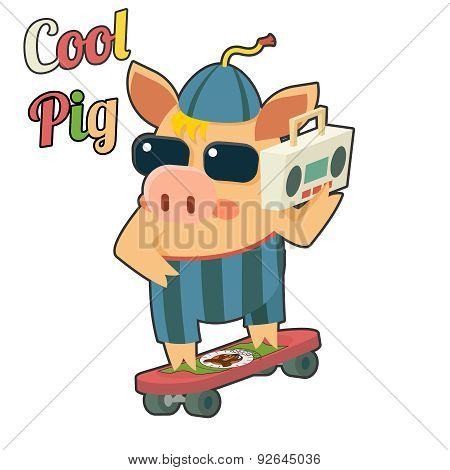 Cool Pig Sunglasses Skateboard Tape Recorder Cartoon Character Icon Vector Illustration