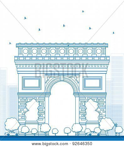 Outline Arch of Triumph. France Paris. Vector illustration