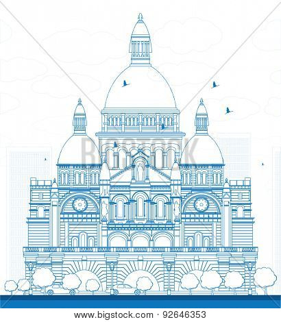 Outline Basilica of the Sacred Heart, Paris, France. Vector illustration