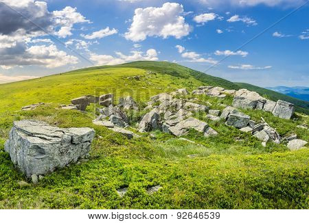 White Boulders On The Hillside
