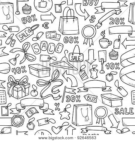 Colorless Vector Pattern Of Shopping Items