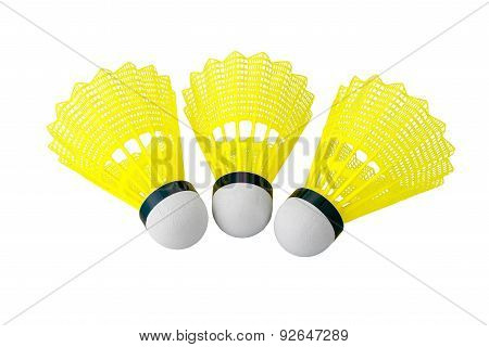 Shuttlecock Isolated On White Background With Clipping Path.