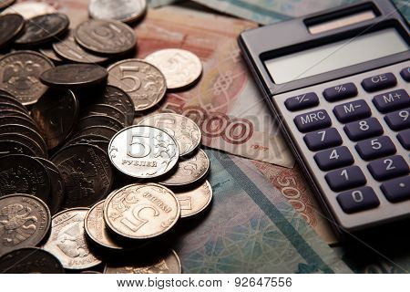 Handful Of Russian Rubles With Calculator