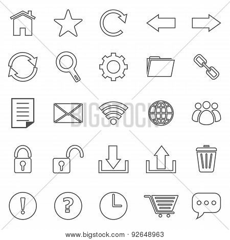 Tool Bar Line Icons On White Background