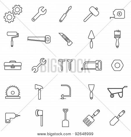 Tool Line Icons On White Background