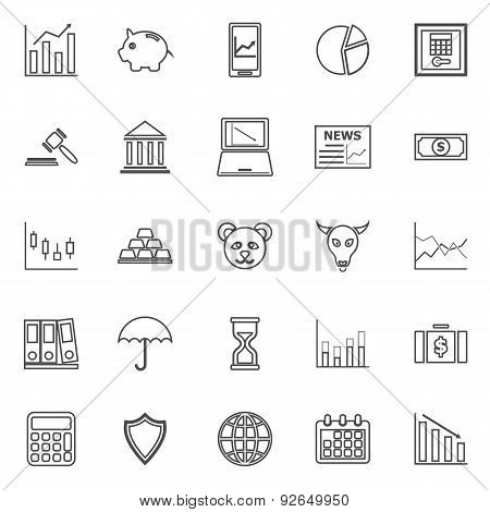 Stock Market Line Icons On White Background