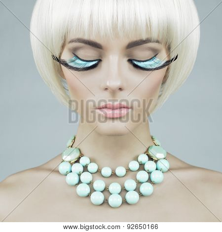 Woman With Color Eyelashes