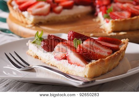 Piece Of Strawberry Tart On A Plate Macro. Horizontal