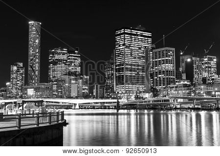 Brisbane City night cityscape from South Brisbane