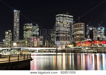 Brisbane City night cityscape from South Brisbane.