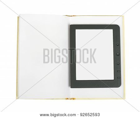 E-book reader on blank book