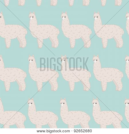 Cute furry alpaca vector seamless pattern