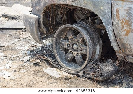 Close Up Detail Of A Burnt Car.
