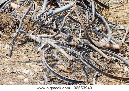 Close Up Damage Bicycles Caused By Fire.