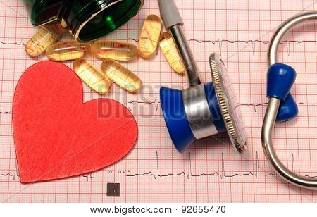 Stethoscope, Electrocardiogram Graph, Tablets And Heart Shape