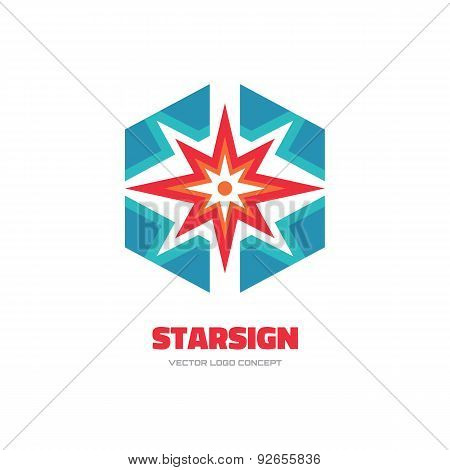 Star sign - vector logo concept illustration. Spark logo. Sun logo. Abstract shape logo.