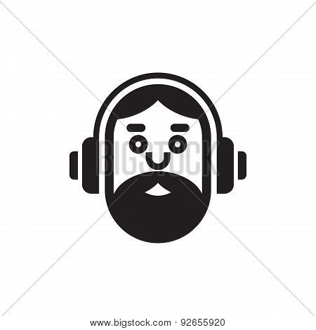 Music lover icon sign. Hipster music lover logo illustration.
