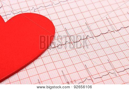 Electrocardiogram Graph Report And Heart Shape
