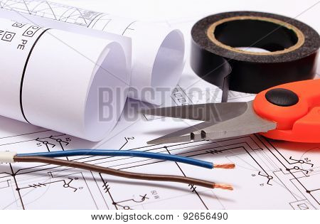 Accessories For Engineer Jobs And Rolls Of Diagrams On Construction Drawing