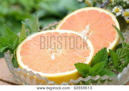 grapefruit with herbs