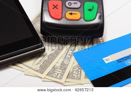 Payment Terminal, Credit Card And Mobile Phone With Nfc Technology, Money