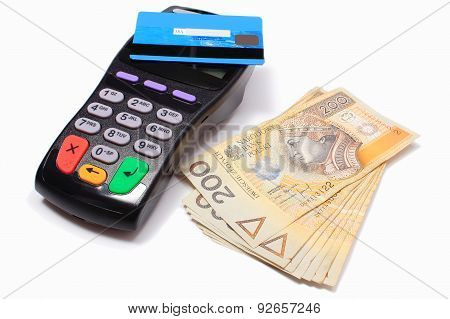 Payment Terminal With Contactless Credit Card And Money