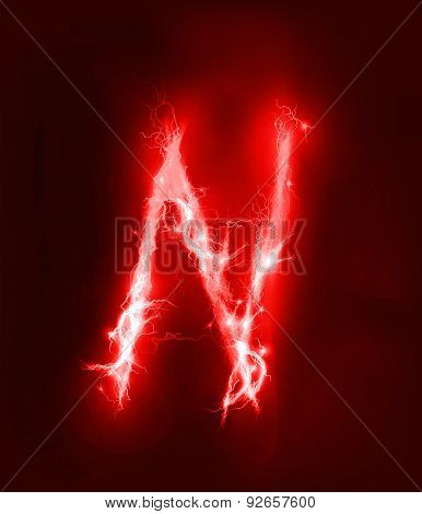 Alphabet made of red electric lighting, thunder storm effect. ABC
