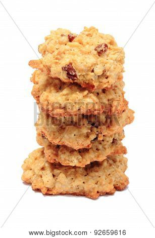 Stack Of Oatmeal Cookies On White Background