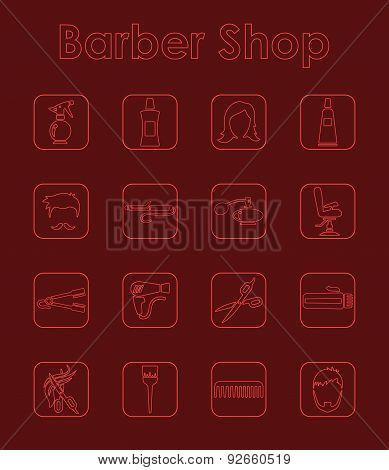 Set of barber shop simple icons
