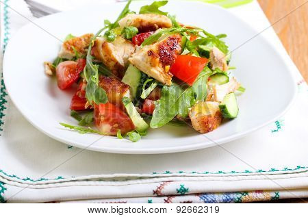 Chicken Breast, Rocket, Cucumber And Tomato Salad