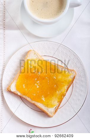 Slice Of Bread With Orange Marmalade